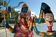 The Hindu Goddess, Kali Mata statue and shrine on the bay at Anse La Raie.