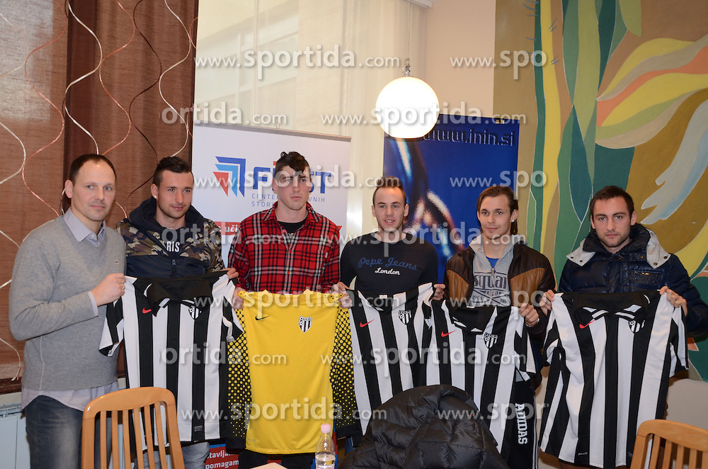Ante Simundza, head coach of ND Mura 05 and players of ND Mura 05: Alen Ploj, Filip Drakovic, Matic Marusko, Rajko Rep and Ales Majer at press conference of Mura 05, on February 4 in Hotel Diana in Murska Sobota, Slovenia