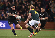 JOHANNESBURG, South Africa, 25 July 2015 : Ma'a Nonu of the All Blacks puts Lima Sopoaga in a gap to level matters at halftime with Schalk Burger (C) of the Springboks the defender during the Castle Lager Rugby Championship test match between SOUTH AFRICA and NEW ZEALAND at Emirates Airline Park in Johannesburg, South Africa on 25 July 2015. Bokke 20 - 27 All Blacks<br /> <br /> © Anton de Villiers / SASPA