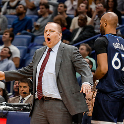 Nov 29, 2017; New Orleans, LA, USA; Minnesota Timberwolves head coach Tom Thibodeau against the New Orleans Pelicans during the second quarter at the Smoothie King Center. Mandatory Credit: Derick E. Hingle-USA TODAY Sports