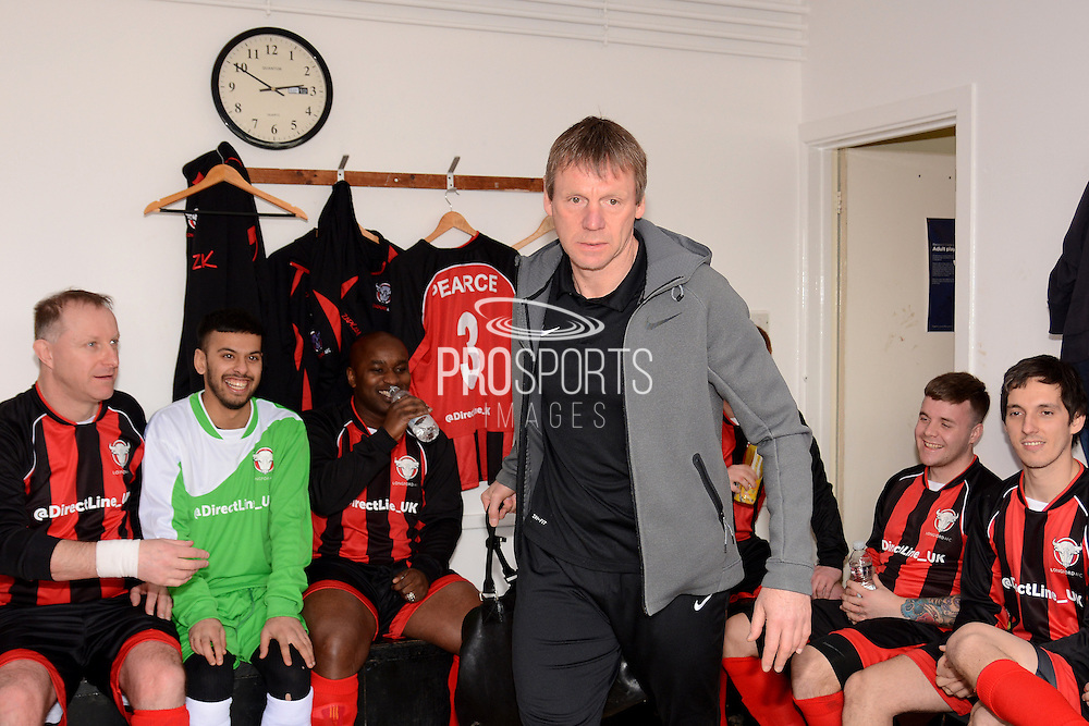 GLOUCESTERSHIRE, ENGLAND – MARCH 12: Stuart Pearce makes his debut for non-league Longford AFC as part of the #directfix campaign by Direct Line. In changing room
