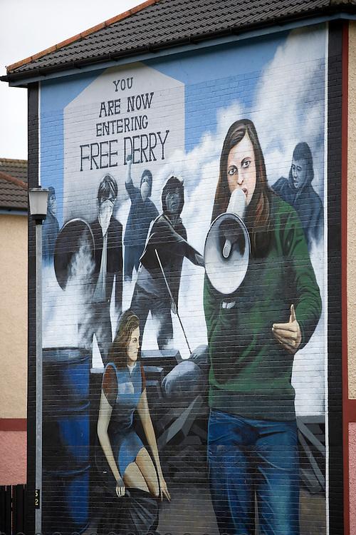 Mural depicting Bernadette Devlin, Derry, Northern Ireland