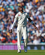 Jofra Archer of England looks frustrated after going close o taking a wicket during the 5th International Test Match 2019 match between England and Australia at the Oval, London, United Kingdom on 13 September 2019.