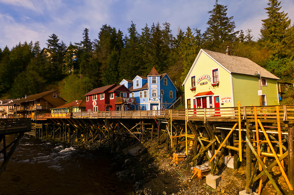 Creek Street historic district (with Ketchikan Creek flowing through it), Ketchikan, Southeast Alaska USA