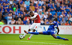 CARDIFF, WALES - Sunday, September 2, 2018: Arsenal's Alexandre Lacazette scores the winning third goal during the FA Premier League match between Cardiff City FC and Arsenal FC at the Cardiff City Stadium. Arsenal won 3-2. (Pic by David Rawcliffe/Propaganda)