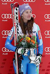 02.03.2014, Mont Lachaux, Crans Montana, SUI, FIS Weltcup Ski Alpin, Crans Montana, Abfahrt, Damen, im Bild Tina Maze (SLO) an der Siegerehrung // during Womens Downhill of FIS Ski Alpine World Cup at the Mont Lachaux in Crans Montana, Switzerland on 2014/03/02. EXPA Pictures © 2014, PhotoCredit: EXPA/ Freshfocus/ Christian Pfander<br /> <br /> *****ATTENTION - for AUT, SLO, CRO, SRB, BIH, MAZ only*****
