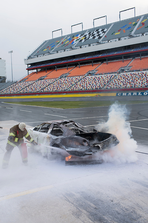 Track services training at Charlotte Motor Speedway, Concord, North Carolina, Saturday, March 2, 2013. Fire, paramedic and clean-up crews are trained on a wide array of emergency response procedures in accordance with NASCAR safety rules and regulations. <br /> <br /> Photo by D.L. Anderson for ESPN