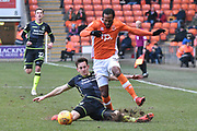 Blackpool Forward, Nathan Delfouneso (30) battles for possession  during the EFL Sky Bet League 1 match between Blackpool and Bristol Rovers at Bloomfield Road, Blackpool, England on 13 January 2018. Photo by Mark Pollitt.