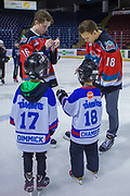 KELOWNA, CANADA - FEBRUARY 19:  Kole Lind #16 of the Kelowna Rockets, Carsen Twarynski #18 of the Kelowna Rockets at the CIBC Family Skate with the Kelowna Rockets on February 19, 2018 at Prospera Place in Kelowna, British Columbia, Canada.  (Photo By Cindy Rogers/Nyasa Photography,  *** Local Caption ***