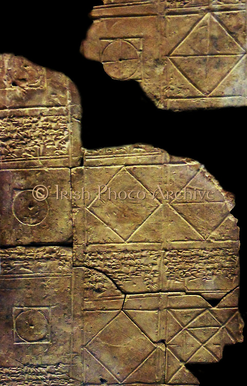 Mathematical tablet - this tablet, which is partly illustrated, contains a set of problems relating to the calculation of volume, together with the solutions. Babylonian tablet BC 7289