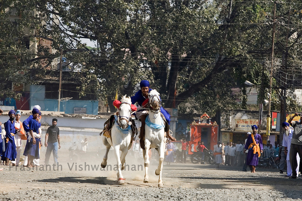 Nihang or sikh religious soldier rides a pair of horses on the second day of the Khalsa festival celebration in Nanded, 650 kms south of Mumbai on November 2, 2008. Sikhs all over the world are celebrating the 300th year of the consecration of the Sikh holy book, the Guru Granth Sahib. Photographer:Prashanth Vishwanathan