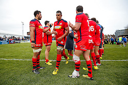 Lock Ben Glynn is applauded after Bristol win the match 16-45 to take a 29 point lead into the 2nd leg at Ashton Gate - Mandatory byline: Rogan Thomson/JMP - 01/05/2016 - RUGBY UNION - Goldington Road - Bedford, England - Bedford Blues v Bristol Rugby - Greene King IPA Championship Play Off Semi Final 1st Leg.
