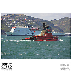 The harbour tugboat Toia passes the Interislander Ferry at Lambton Harbour, Wellington, New Zealand.<br />