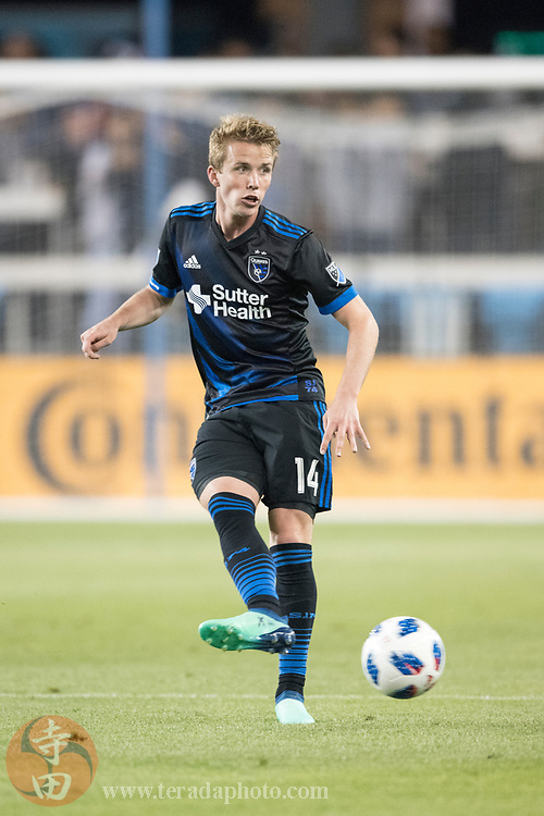 May 19, 2018; San Jose, CA, USA; San Jose Earthquakes midfielder Jackson Yueill (14) during the second half against D.C. United at Avaya Stadium. D.C. United defeated the Earthquakes 3-1.