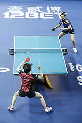 February 23, 2018 - London, England, United Kingdom - ITTF Team World Cup match between Kasumi ISHIKAWA of Japan and Tianwei FENG of Singapore, Quarter Finals Women doubles match on February 23, 2018 in Copper Box Arena, Olympic Park, London. (Credit Image: © Dominika Zarzycka/NurPhoto via ZUMA Press)