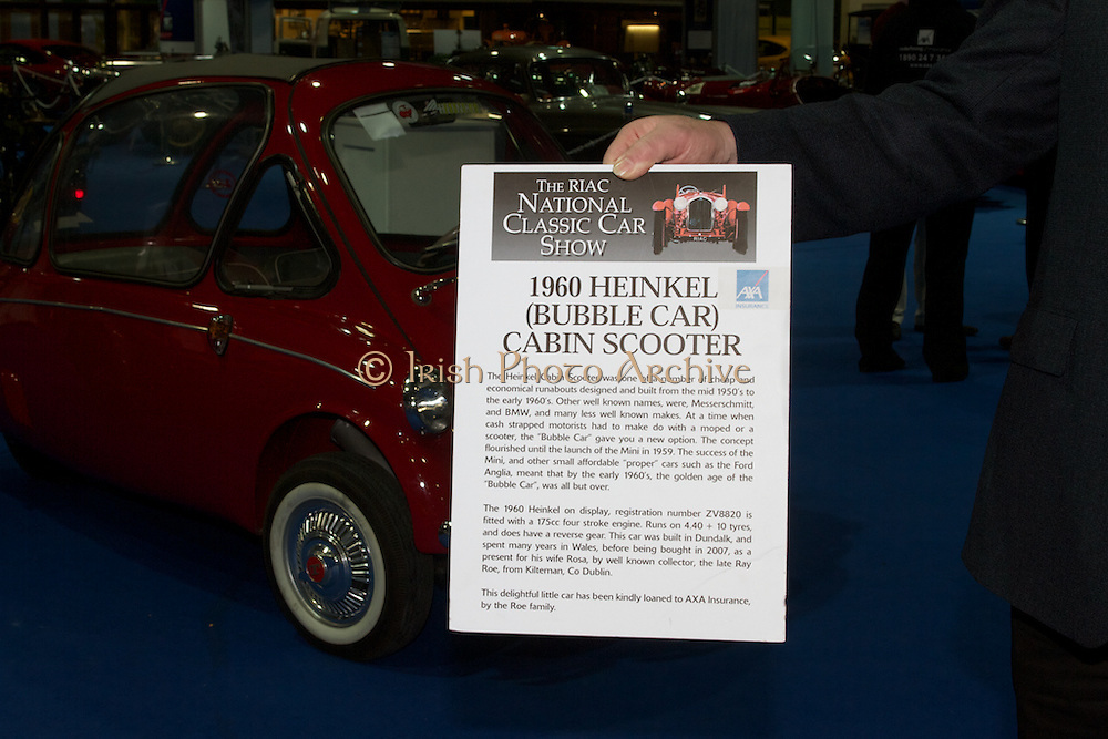 RIAC Classic Car Show 2013, RDS, the Heinkel Cabin Scooter was one of a number of cheap and economical runabouts designed and built from the mid 1950's to the early 1960's. A delightful little car, Irish, Photo, Archive.