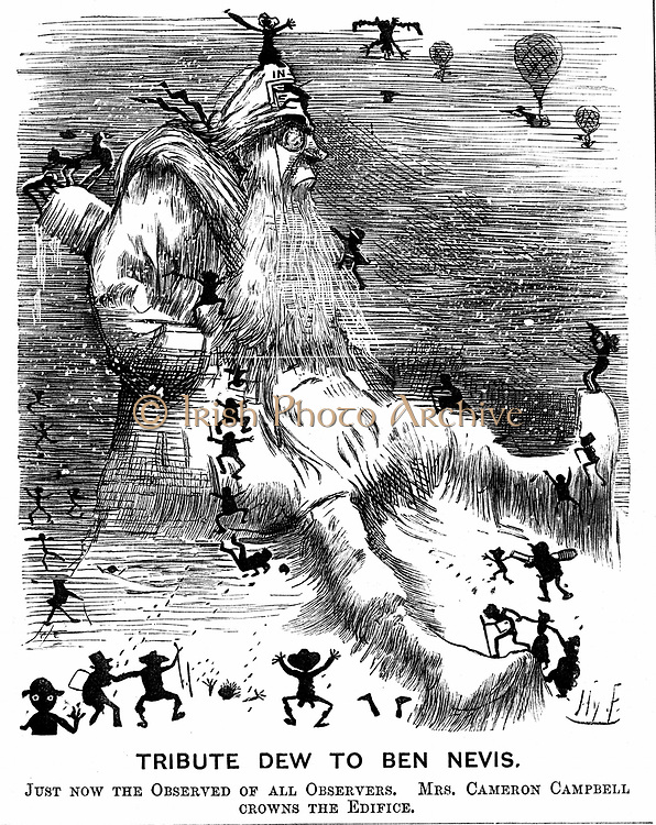 Meteorological observatory on Ben Nevis, Scotland. Cartoon by Harry Furniss (1854-1925) marking its opening.  From 'Punch' (London 27 October 1883). Wood engraving.