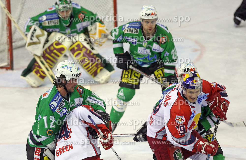 Todd Elik holds Josh Green at sixth game of the Final of EBEL league (Erste Bank Eishockey Liga) between ZM Olimpija vs EC Red Bull Salzburg,  on March 25, 2008 in Arena Tivoli, Ljubljana, Slovenia. Red Bull Salzburg won the game 3:2 and series 4:2 and became the Champions of EBEL league 2007/2008.  (Photo by Vid Ponikvar / Sportal Images)..