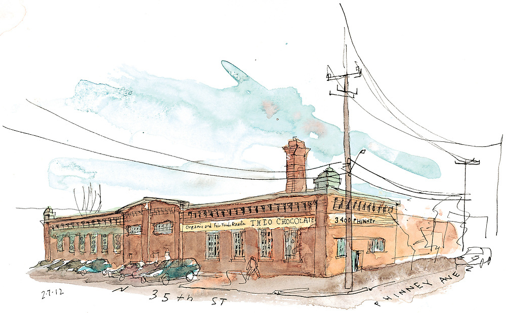 Sketch of the Theo Chocolate Factory Building in Fremont neighborhood of Seattle. <br />