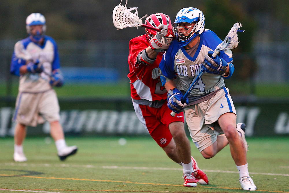 May 1, 2009:    #2 Bryce Woodson of Ohio State and #4 Eric Evans of Air Force in action during the NCAA Lacrosse game between Air Force and Ohio State at GWLL Tournament in Birmingham, Michigan. Ohio State defeated Air Force 10-5.  (Credit Image: Rick Osentoski/Cal Sport Media)