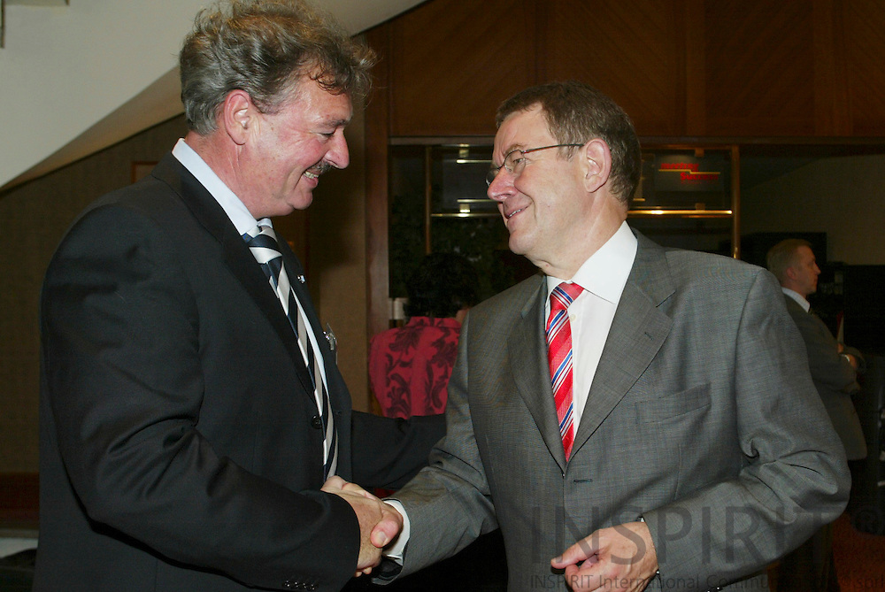 BRUSSELS - BELGIUM - 15 JUNE 2006 -- PARTY OF EUROPEAN SOCIALISTS (PES) Leaders pre Summit meeting -- From left Poul NYRUP RASMUSSEN, President of PSE, and Jean ASSELBORN, Minister for Foreign Affairs Luxembourg. PHOTO: ERIK LUNTANG /