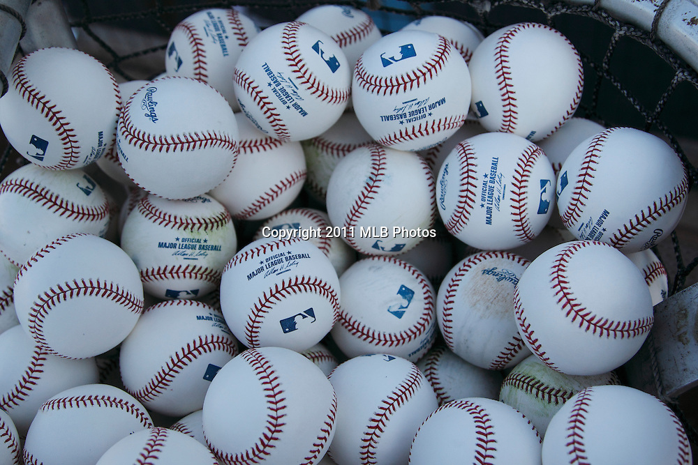 LOS ANGELES, CA - APRIL 15:  Baseballs lie in a bin during batting practice at the game between the St. Louis Cardinals and the Los Angeles Dodgers on Friday April 15, 2011 at Dodger Stadium in Los Angeles, California. (Photo by Paul Spinelli/MLB Photos via Getty Images)