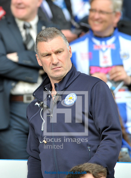 Nigel Pearson manager of Leicester City during the Sky Bet Championship match at the John Smiths Stadium, Huddersfield<br /> Picture by Graham Crowther/Focus Images Ltd +44 7763 140036<br /> 26/04/2014