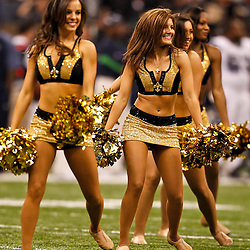 November 21, 2010; New Orleans, LA, USA; New Orleans Saints Saintsations cheerleaders perform during the second quarter at the Louisiana Superdome. Mandatory Credit: Derick E. Hingle-US PRESSWIRE