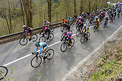 The peloton speed toward Houfallies during Liege-Bastogne-Liege Femmes - a 135.5 km road race between Bastogne and Ans on April 23 2017 in Liège, Belgium.