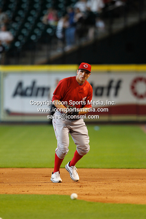 24 July 2010:<br /> Cincinnati Reds first baseman Joey Votto (19) practices fielding ground balls prior to the Cincinnati Reds vs. Houston Astros baseball game at Minute Maid Park on Saturday July 24, 2010 in Houston, Texas. Cincinnati won 7-0.
