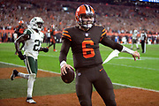 Cleveland Browns rookie quarterback Baker Mayfield (6) celebrates after catching a third quarter pass for a successful two point conversion that ties the score at 14-14 during the 2018 NFL regular season week 3 football game against the New York Jets on Thursday, Sept. 20, 2018 in Cleveland. The Browns won the game 21-17. (©Paul Anthony Spinelli)