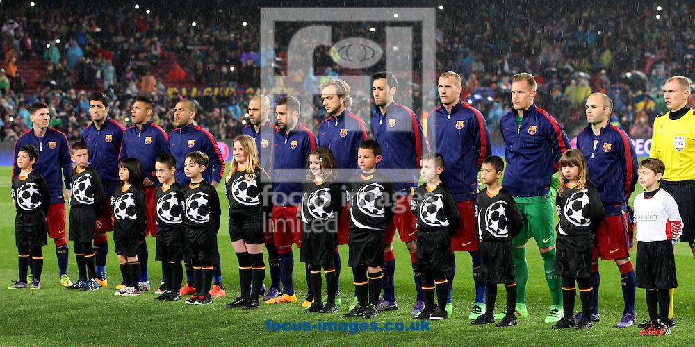 FC Barcelona team photo during the UEFA Champions League match at Camp Nou, Barcelona<br /> Picture by Yannis Halas/Focus Images Ltd +353 (87) 258201<br /> 16/03/2016