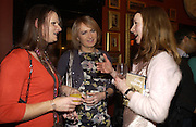 Kim Angel, Laura Handbag and Sonja Harms, Grayson Perry by Wendy Jones launch party. Leighton House. Holland Park. London. 17 January 2006. January 2006.  ONE TIME USE ONLY - DO NOT ARCHIVE  © Copyright Photograph by Dafydd Jones 66 Stockwell Park Rd. London SW9 0DA Tel 020 7733 0108 www.dafjones.com