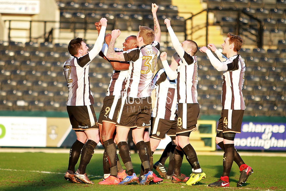 Notts County players celebrate after Notts County's Shola Ameobi's (9) goal during the EFL Sky Bet League 2 match between Notts County and Stevenage at Meadow Lane, Nottingham, England on 24 February 2018. Picture by Nigel Cole.