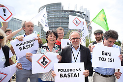 France Insoumise supporters, with the ecologist, nature, agricultural associaitons and some ecologist European Deputies protest against glyphosate, herbicide molecule and toxic products in agriculture, in front of the European Parliament in Strasbourg, France, on July 03, 2018. Photo by Nicolas Roses/ABACAPRESS.COM