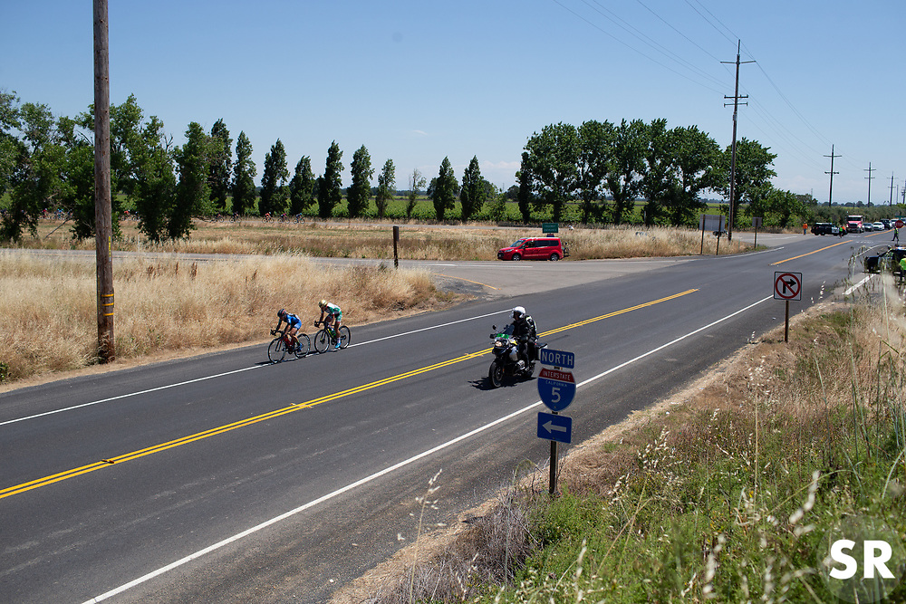 Whitney Allison (USA) of Hagens Berman/Supermint Cycling Team and Ingrid Drexel (MEX) of Team Tibco - Silicon Valley Bank ride in the break during Stage 1 of the Amgen Tour of California - a 124 km road race, starting and finishing in Elk Grove on May 17, 2018, in California, United States. (Photo by Balint Hamvas/Velofocus.com)