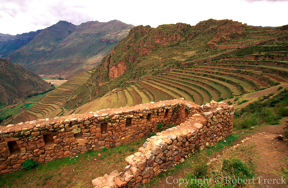 PERU, HIGHLANDS, CUZCO AREA Prehispanic, Inca ruins at Pisac; a stone fortress, part of the defensive walls that surround the hilltop site
