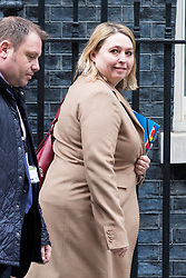 © Licensed to London News Pictures. 08/02/2018. London, UK. Secretary of State for Northern Ireland Karen Bradley leaves 10 Downing Street after the second part of the Brexit Cabinet meeting. Photo credit: Rob Pinney/LNP