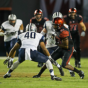 03 September 2016: The San Diego State Aztecs football team open's up the season at home against the University of New Hampshire Wildcats. San Diego State wide receiver Eric Judge (81) catches a pass for a first down in the fourth quarter. The Aztecs beat the Wildcats 31-0. www.sdsuaztecphotos.com