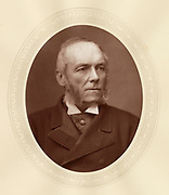 'George Osborne Morgan (1826-1897) c1880, Welsh lawyer and Liberal politician: Member of Parliament for Denbighshire and then East Denbighshire 1868-1897:  Judge Advocate General 1880-1885.'