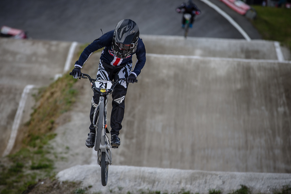 #21 (GAIAN Sean) USA during round 4 of the 2017 UCI BMX  Supercross World Cup in Zolder, Belgium.