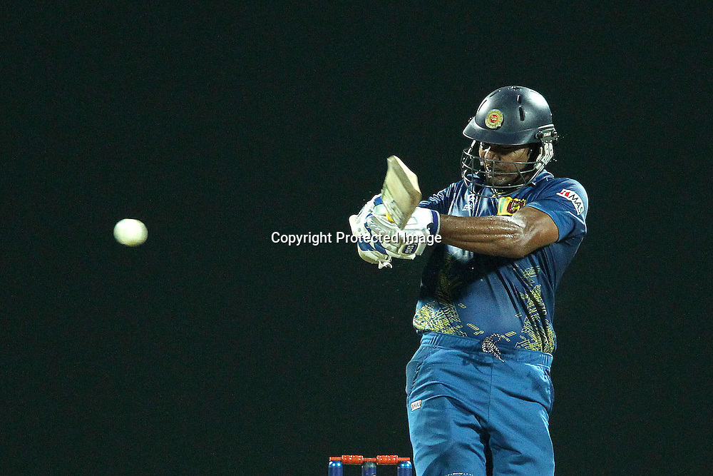 Kumar Sangakkara hooks the ball to the boundary for four during the ICC World Twenty20 Super 8s match between Sri Lanka and The West Indies held at the  Pallekele Stadium in Kandy, Sri Lanka on the 29th September 2012<br /> <br /> Photo by Ron Gaunt/SPORTZPICS