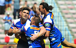 Cape Town-180217 Stomers Damien de Allende celebrates his try with team mates after scoring against Jaguares in the opening game of the Super 15 at Newlands .photograph:Phando Jikelo/African News Agency/ANA