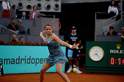 May 6, 2019 - Madrid, Spain - Viktoria Kuzmova ( SVK) in her match against Carla Suarez (SPA) during day three of the Mutua Madrid Open at La Caja Magica in Madrid on 6th May, 2019. (Credit Image: © Juan Carlos Lucas/NurPhoto via ZUMA Press)