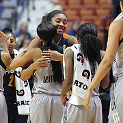 UNCASVILLE, CONNECTICUT- MAY 05: Former UConn Huskies Morgan Tuck #33 of the Connecticut Sun and Moriah Jefferson #4 of the San Antonio Stars hug after the San Antonio Stars Vs Connecticut Sun preseason WNBA game at Mohegan Sun Arena on May 05, 2016 in Uncasville, Connecticut. (Photo by Tim Clayton/Corbis via Getty Images)