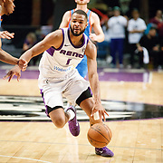 Reno Bighorns Guard AARON HARRISON (1) drives late in the game during the NBA G-League Basketball game between the Reno Bighorns and the Oklahoma City Blue at the Reno Events Center in Reno, Nevada.
