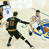 04 June 2017: Golden State Warriors guard Stephen Curry (30) drives past Cleveland Cavaliers guard Kyle Korver (26) and Cleveland Cavaliers guard Deron Williams (31) on a screen set by Golden State Warriors forward Andre Iguodala (9) during the Golden State Warriors 132-113 victory over the Cleveland Cavaliers, in game 2 of the 2017 NBA Finals, at the Oracle Arena, Oakland, California, USA.