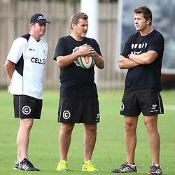 DURBAN, SOUTH AFRICA, 17 November 2015 - Sean Everitt (Assistant Coach) of the Cell C Sharks with Robert du Preez( Assistant Coach) of the Cell C Sharks with Ryan Strudwick (Assistant Coach) of the Cell C Sharks during The Pre-season training squad and coaching team announcement at Growthpoint Kings Park in Durban, South Africa. (Photo by Steve Haag)<br /> images for social media must have consent from Steve Haag