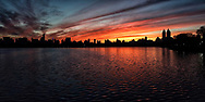 Sunset at the Reservoir in Central Park, New York City