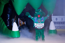 Olimpija mascot Hoki before the Tomaz Vnuk's exhibition game between team HDD Tilia Olimpija and team 24 Ever on August 28, in Ljubljana, Slovenia. (Photo by Matic Klansek Velej / Sportida)